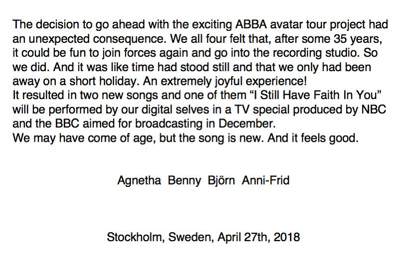 A Message From ABBA